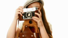 Cute little girl with a camera Stock Footage