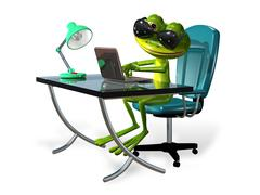 Stock Illustration of frog at the table