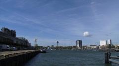 Skyline city north, Euromast, river Nieuwe Maas + pan Rijnhavenbrug Kop van Zuid Stock Footage