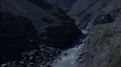 River Rocky Canyon Road Rapids Stock Footage