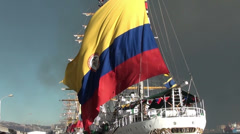 1363 Colombian flag at a sailboat Stock Footage