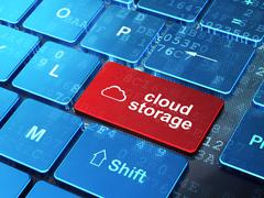 Networking concept: Cloud and Cloud Storage on computer keyboard Stock Illustration