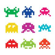 Space invaders, 8bit aliens icons set - stock illustration