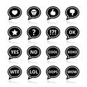 Stock Illustration of Speech bubble emotion icons - love, like, anger, WTF, LOL, OK
