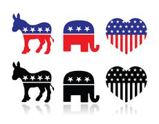 USA political parties symbols: Democrats and Republicans - stock illustration