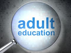 Education concept: optical glass with words Adult Education - stock illustration