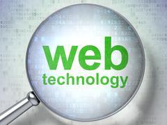 SEO web development concept: optical glass with words Web Techno Stock Illustration