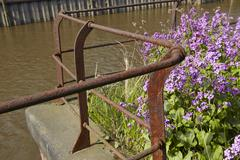 Hamburg - old handrail at the warehouse district Stock Photos