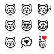 cat icons set - happy, sad, angry isolated on white - stock illustration