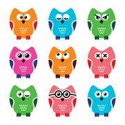 Owl cartoon vector icons set - stock illustration