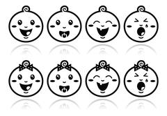 Baby boy, baby girl face - crying, with soother, smile black icons - stock illustration
