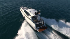 Aerial view of luxury boat Stock Footage