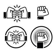 Stock Illustration of Fist, fist bump vector icons set