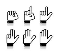 Counting hand signs - vector isolated on white - stock illustration