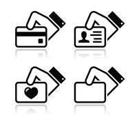 Hand holding credit card, business card, ID icons set Stock Illustration