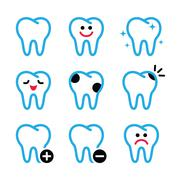 Tooth, teeth vector icons set in color - stock illustration