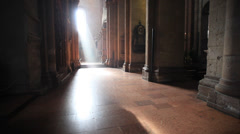 Cathedral of mainz indoor with incredible light - stock footage