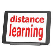 tablet distance learning - stock illustration