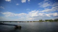 River rhein in summer - stock footage