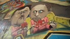 Putin Graffiti Street Art Stock Footage