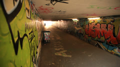 Tunnel Graffiti Street Art Stock Footage