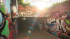 Graffiti Street Art with sun Stock Footage
