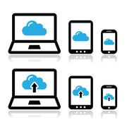 Cloud network on laptop, tablet, smartphone icons set - stock illustration