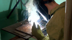 The welding process at the plant, welder. Stock Footage