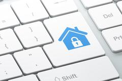 Protection concept: computer keyboard with Home Stock Illustration