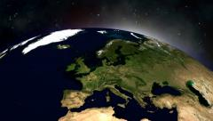 FullHD video of view on surise on Earth in Space Stock Footage