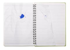 used blank note book with ring binder and tattered page isolated on white - stock photo