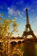 Beautiful colors and vegetation near Eiffel Tower and Seine rive Stock Photos