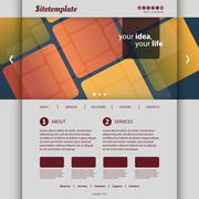 Website Template with Abstract Tiled Patterned Design - stock illustration