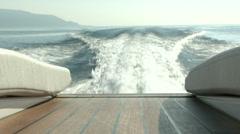 Vintage wooden boat navigating - stock footage