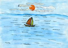 children's drawing sailboat. - stock illustration