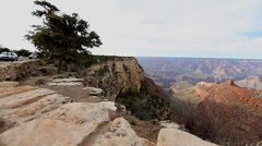 Pan at the desert viewpoint grand canyon 3 Stock Footage