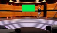 Entertainment 012 TV Studio Set - Virtual Green Screen Background PSD PSD Template
