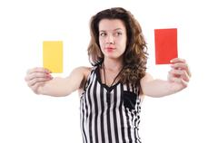 Woman referee with card on white Stock Photos
