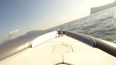 Bow of a navigating maxi rib - stock footage
