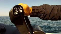 Man accelerating on powerful boat - stock footage