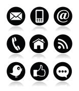 Contact, web, blog and social media round icons - Twitter, Facebook, RSS Piirros