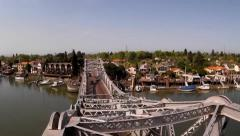 Aerial View of Steel Bridge and Harbor on Clear Sunny Morning Stock Footage