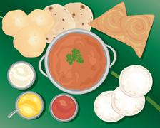 indian meal - stock illustration
