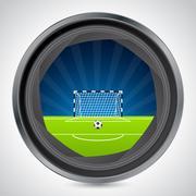 Soccer field seen through camera shutter Stock Illustration