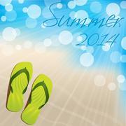 summer background design with flip flops - stock illustration