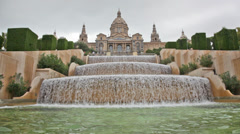 Fountain on the square of Spain, before the national museum in Barcelona, Spain Stock Footage