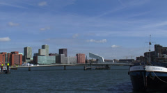 Skyline Rijnhaven, Bridge + pan Kop van Zuid, modern architecture + jugendstil Stock Footage