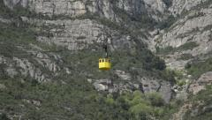 Cable Car Descends From  Montserrat Monastery Spain Stock Footage