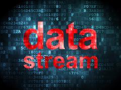 Information concept: data stream on digital background - stock illustration