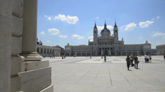 View of Almudena Cathedral from Royal Palace, Madrid Stock Footage